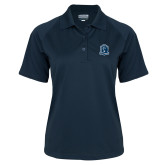 Ladies Navy Textured Saddle Shoulder Polo-Monarchs Shield
