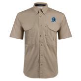 Khaki Short Sleeve Performance Fishing Shirt-Monarchs Shield