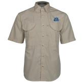 Khaki Short Sleeve Performance Fishing Shirt-ODU w Crown