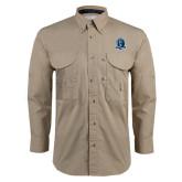 Khaki Long Sleeve Performance Fishing Shirt-Monarchs Shield