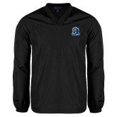 V Neck Black Raglan Windshirt-Monarchs Shield