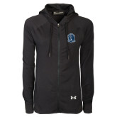 Ladies Under Armour Black Varsity Full Zip Hoodie-Monarchs Shield