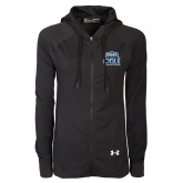 Ladies Under Armour Black Varsity Full Zip Hoodie-ODU with Crown
