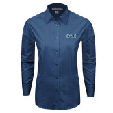 Ladies Deep Blue Tonal Pattern Long Sleeve Shirt-ODU
