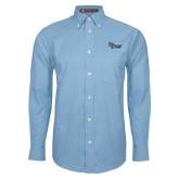 Mens Light Blue Oxford Long Sleeve Shirt-Old Dominion University