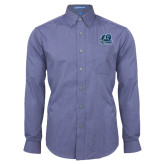 Mens Deep Blue Crosshatch Poplin Long Sleeve Shirt-Primary Mark