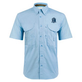 Light Blue Short Sleeve Performance Fishing Shirt-Monarchs Shield