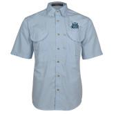 Light Blue Short Sleeve Performance Fishing Shirt-ODU w Crown