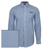 Mens French Blue/White Striped Long Sleeve Shirt-Old Dominion University