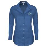 Ladies Red House Deep Blue Herringbone Non Iron Long Sleeve Shirt-Primary Mark