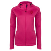 Ladies Tech Fleece Full Zip Hot Pink Hooded Jacket-Lion Shield