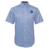 Light Blue Twill Button Down Short Sleeve-Monarchs Shield