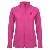 Ladies Fleece Full Zip Raspberry Jacket-Lion Shield