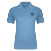 Ladies Easycare Light Blue Pique Polo-Primary Mark