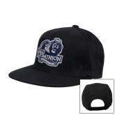Black Flat Bill Snapback Hat-Primary Mark