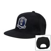 Black Flat Bill Snapback Hat-Monarchs Shield
