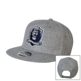 Heather Grey Wool Blend Flat Bill Snapback Hat-Monarchs Shield