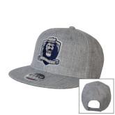 Heather Grey Wool Blend Flat Bill Snapback Hat-Monarchs Shield