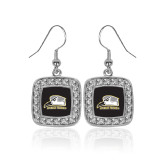 Crystal Studded Square Pendant Silver Dangle Earrings-Athletic Logo