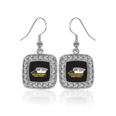 Crystal Studded Square Pendant Silver Dangle Earrings-Primary Athletics Logo