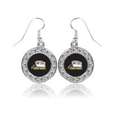 Crystal Studded Round Pendant Silver Dangle Earrings-Athletic Logo