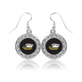 Crystal Studded Round Pendant Silver Dangle Earrings-Primary Athletics Logo