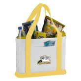 Contender White/Gold Canvas Tote-Athletic Logo