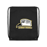 Nylon Black Drawstring Backpack-Athletic Logo