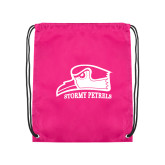 Nylon Pink Drawstring Backpack-Athletic Logo
