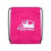 Pink Drawstring Backpack-Athletic Logo