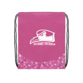 Nylon Pink Bubble Patterned Drawstring Backpack-Athletic Logo