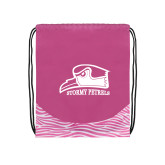 Nylon Zebra Pink/White Patterned Drawstring Backpack-Athletic Logo