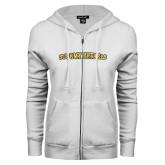 ENZA Ladies White Fleece Full Zip Hoodie-Stormy Petrels