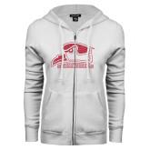 ENZA Ladies White Fleece Full Zip Hoodie-Official Logo Pink Glitter