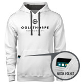 Contemporary Sofspun White Hoodie-Primary University Logo