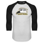 White/Black Raglan Baseball T Shirt-Athletic Logo
