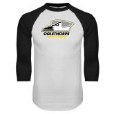 White/Black Raglan Baseball T Shirt-Primary Athletics Logo