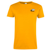 Ladies Gold T Shirt-Primary Athletics Logo