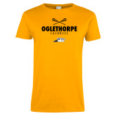 Ladies Gold T Shirt-Lacrosse Crossed Sticks