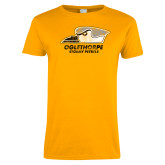 Ladies Gold T Shirt-Primary Athletics Mark Distressed