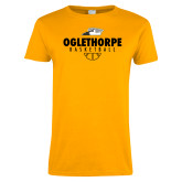Ladies Gold T Shirt-Abstract Basketball
