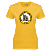 Ladies Gold T Shirt-University Seal