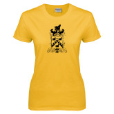 Ladies Gold T Shirt-Oglethorpe Crest