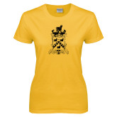 Ladies Gold T Shirt-Oglethorpe Crest Distressed