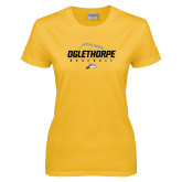 Ladies Gold T Shirt-Baseball Design