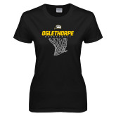 Ladies Black T Shirt-Basketball Net Design