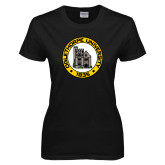 Ladies Black T Shirt-University Seal