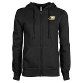 ENZA Ladies Black Fleece Full Zip Hoodie-Primary Athletics Logo