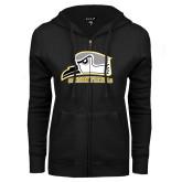 ENZA Ladies Black Fleece Full Zip Hoodie-Athletic Logo