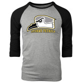 Grey/Black Tri Blend Baseball Raglan-Athletic Logo